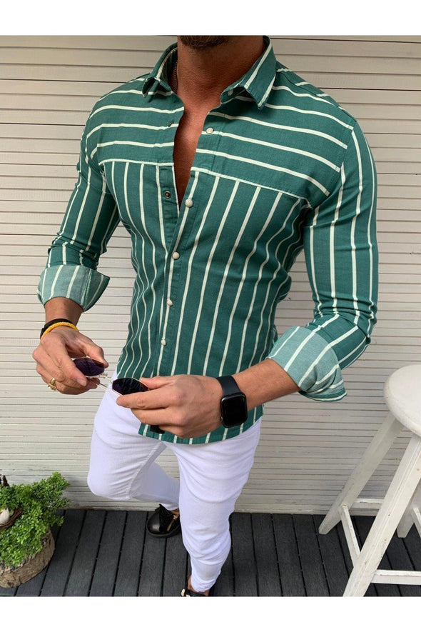Mens Stripe Print Long Sleeve Casual Shirts