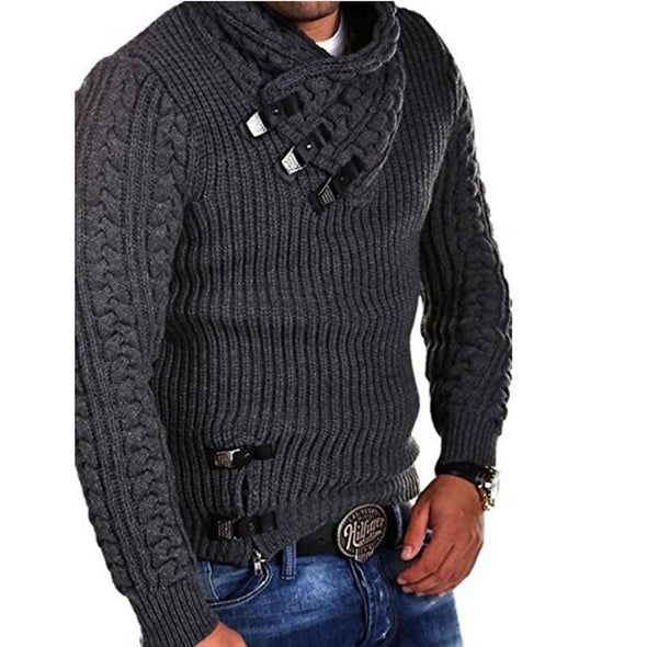 Men's Long sleeve leather button sweater