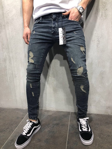 Mens Fashion Ripped Stretch fit Jeans