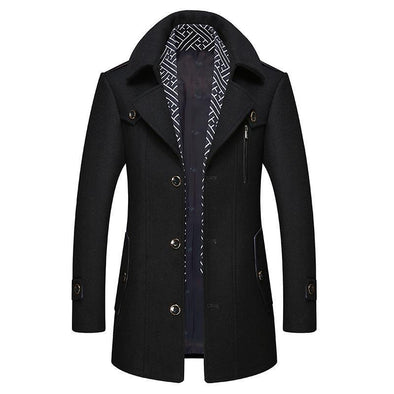 Men's business slim woolen coat