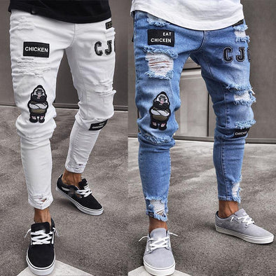 Men Stylish Ripped Cowboy Jeans
