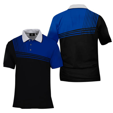 Summer men's blue and black contrast short-sleeved T-shirt
