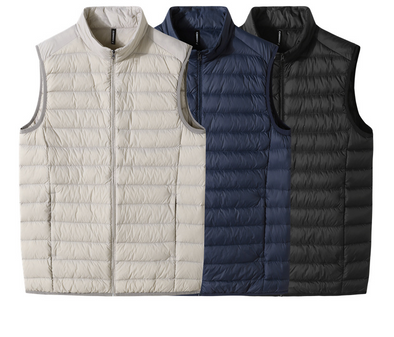 Men's Solid Color Zipper Winter Down Vest