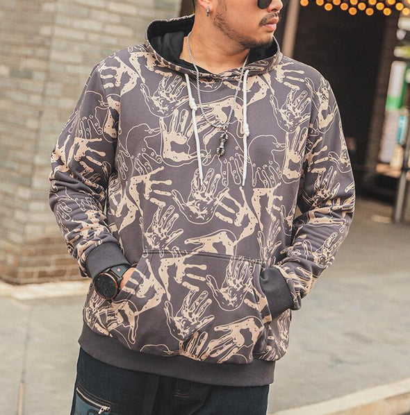 New Men Print Fashion Casual Loose Thicken Hoodies
