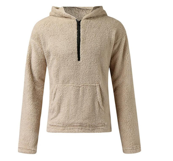 Men Autumn Winter Cashmere Wool Slim Fit  Zipper Hoodies Coat