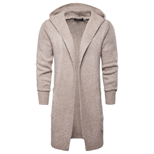 New Men Solid Color Midi-Long Hooded Knitted Cardigan Coat