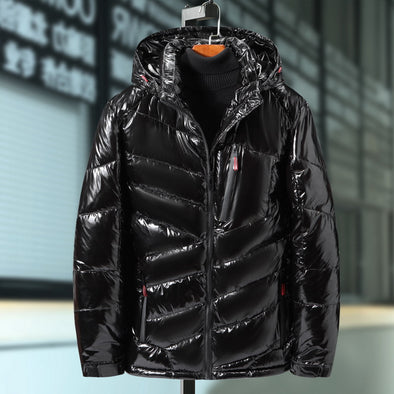 Men New Bright Leather Winter Casual Parka Outwear Waterproof Thicken Warm Down Jacket