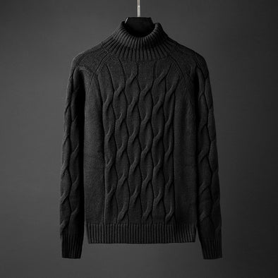 New Men Casual Solid Color Turtleneck Knitted Sweater