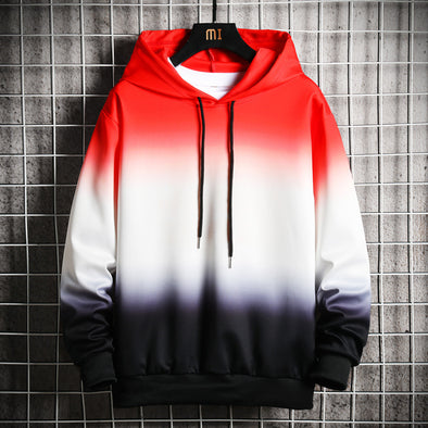 Men's Cool Style Gradient Contrast Color Drawstring Hoodies
