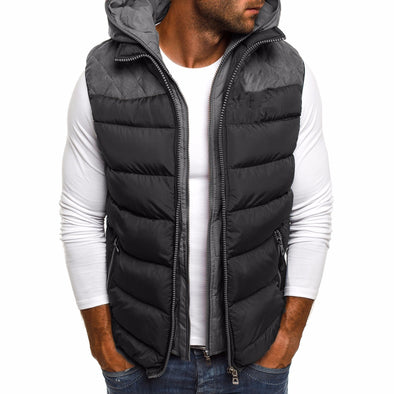 New Men Patchwork Hoodde Zipper Down Vest