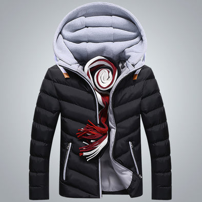 Men's Winter Thick Fit Stitching Hooded Jacket