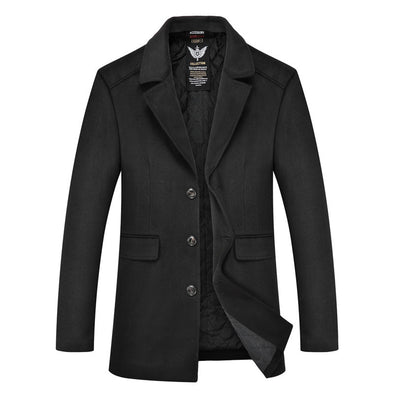 Men's Casual Thick Lapel Collar Woolen Coat