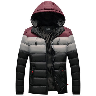 Winter New Men Casual Block Color Down Coat
