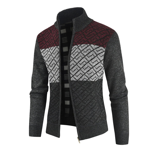 Men New Fashion Patchwork Color Sweater Coat