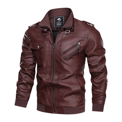 European-American Style Men Stand Collar PU Leather Clothing