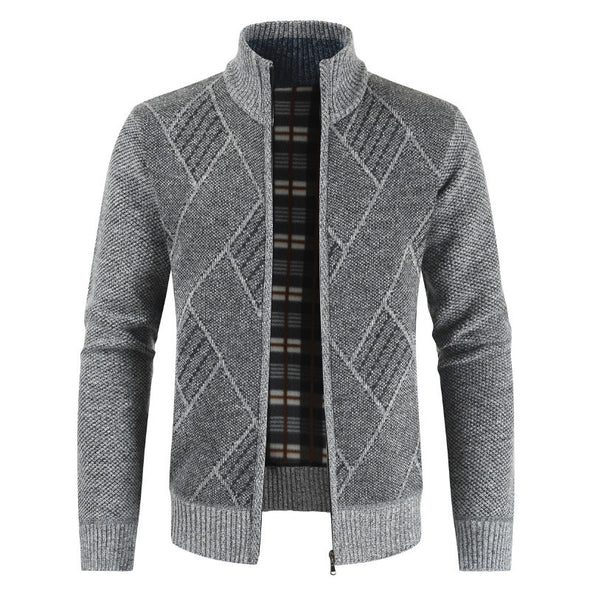 Mens Rhombic Pattern Embroidery Stand Collar Knitted Sweater