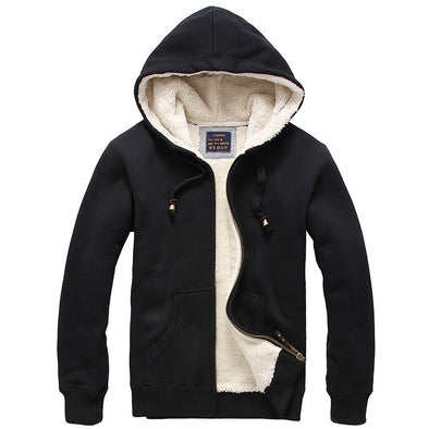 Men's Winter Velvet Thick Solid Color Wool Hoodie