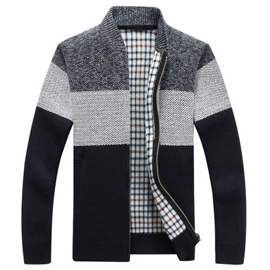 2020 Men New Patchwork Color V-neck Thick Knitted Cardigan Sweater