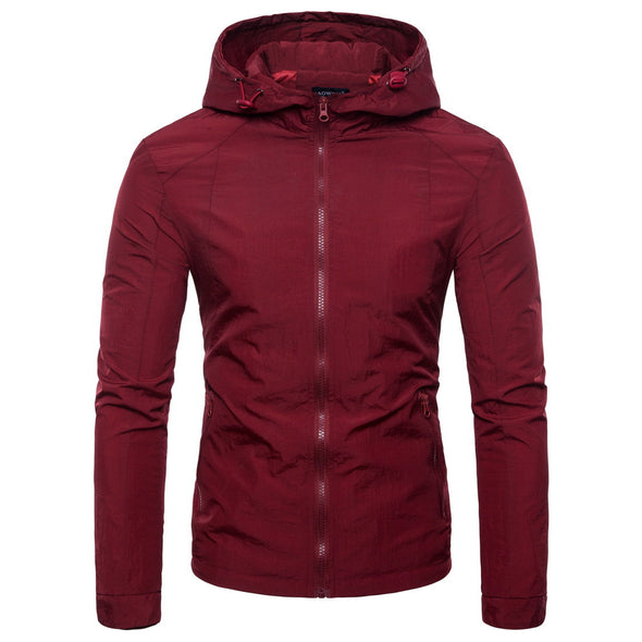 European Size Solid Color Hooded Ultra-Thin Men's Jacket
