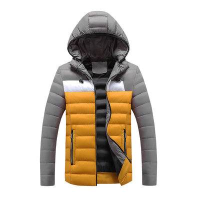 Men's Winter Thick Fit Stitching Hooded Down Jacket