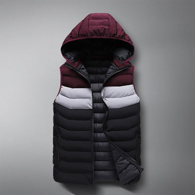 Autumn and Winter Vest Slim Cardigan Down Cotton Color-block Sleeveless Jacket