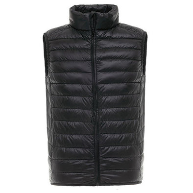 Men Stand-up Collar Solid Color Down Vest