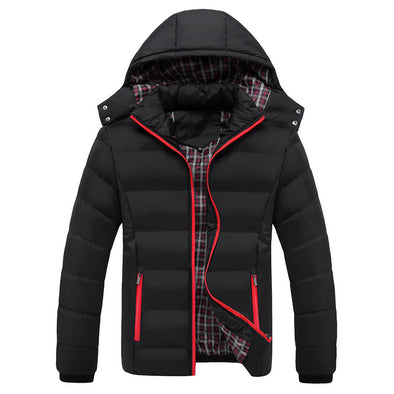 New Men Fit Thick Solid Color Casual Down Jacket