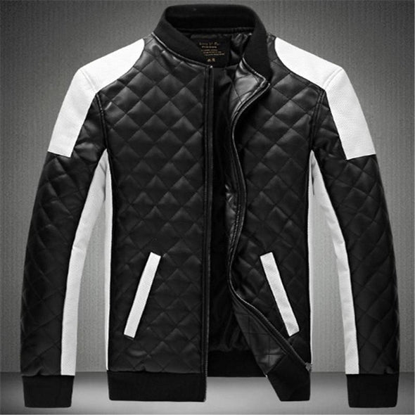 New Men Fashion Patchwork Windproof Leather Jacket