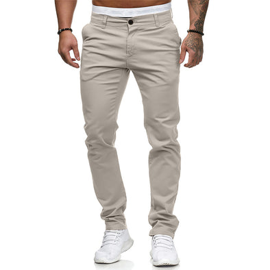 New Men Solid Fit Slim Fashion Long Pants