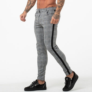 Men's Stylish Formal Slim  Plaid Pattern Pants