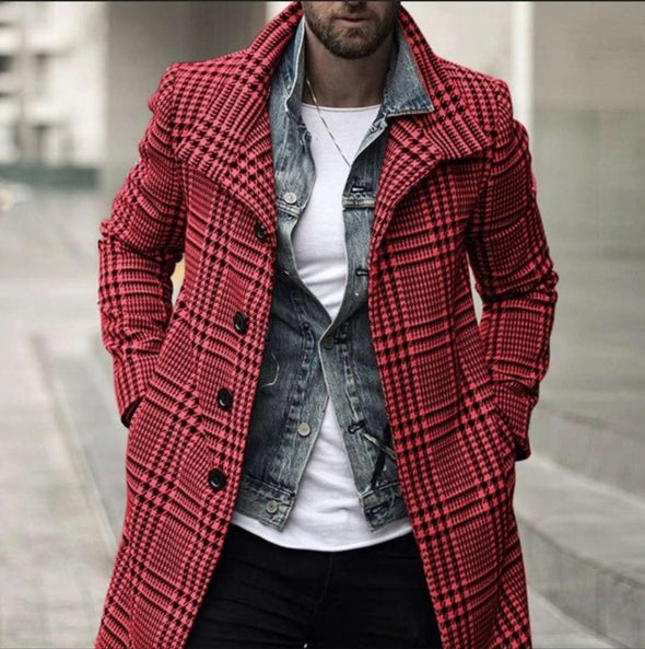 Men's Plaid Coat Long-Length Collar Long Sleeve Warm Coat
