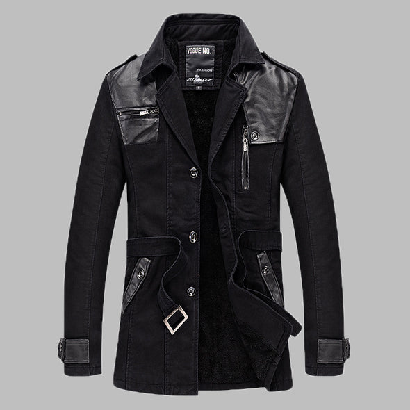 Men  Winter Midi-long Lapel Casual  Warm Coat