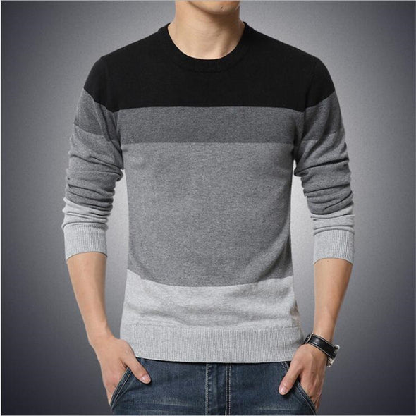 Men Casual O-Neck Striped Slim Fit Pullover Sweather