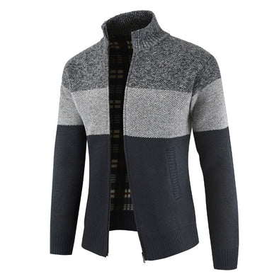 2020 Men New Casual Block Color Zipper Stand-up Collar Knitted Cardigan
