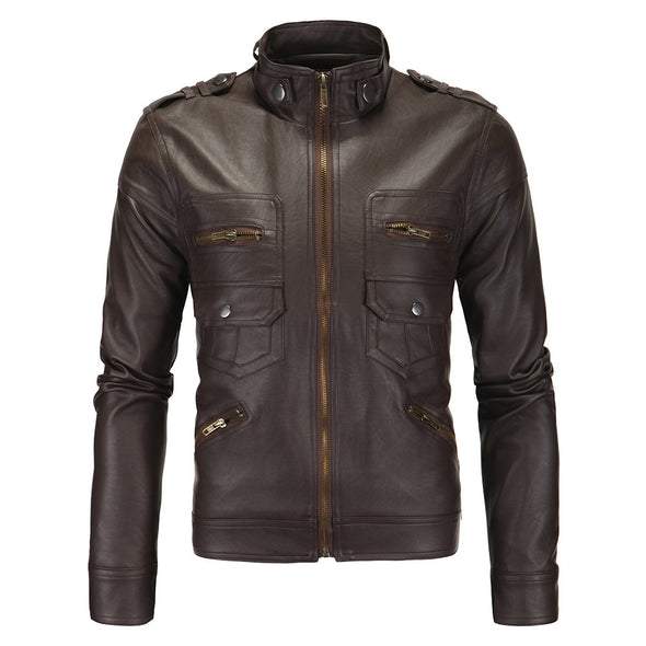 New Autumn/Winter  Punk Casual  Standing Collar Motorcycle Leather Jacket