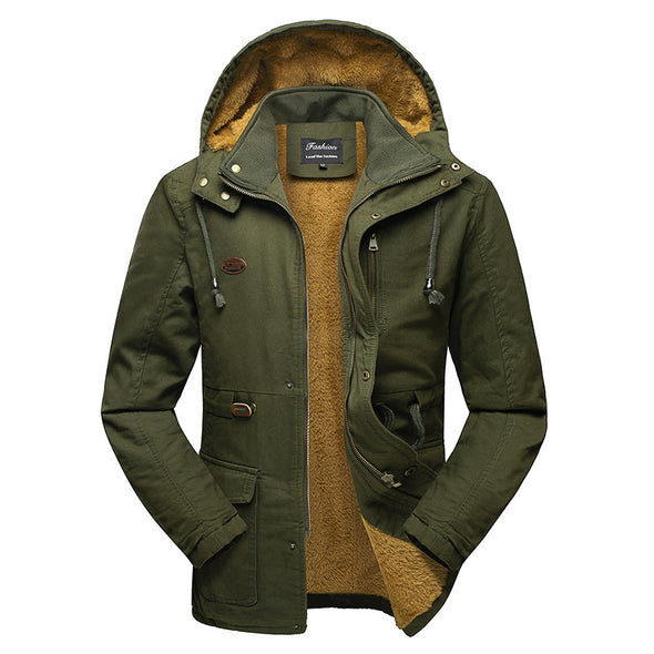 Winter Windproof Men Solid Parkas Cotton Padded Casual Jackets