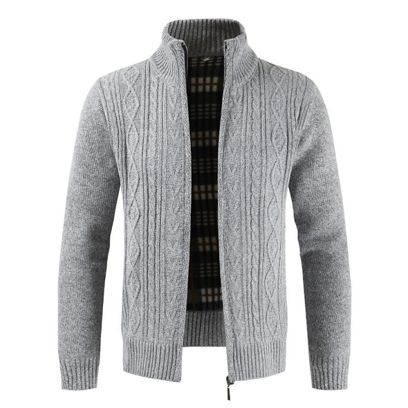 New Men Stand-up Collar Solid Color Zipper Cardigan Sweater