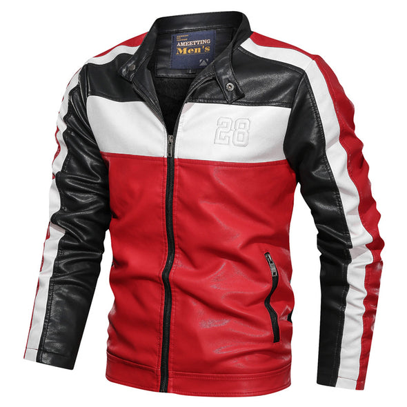 Men's Stand Collar Regular Color Faux Leather Jacket