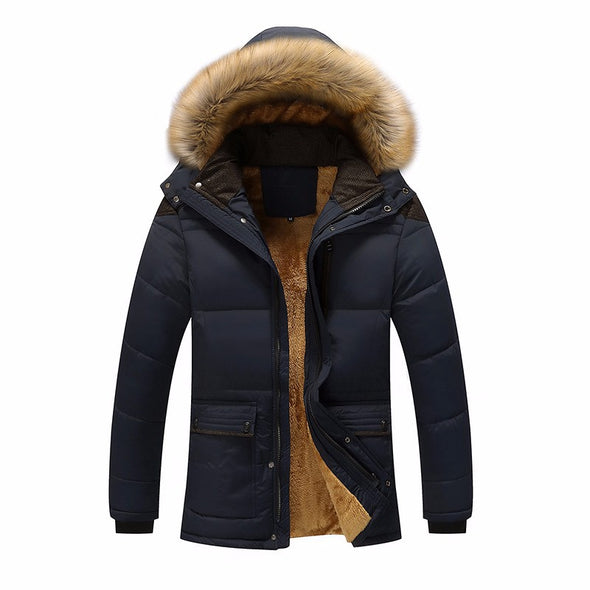 Winter Windproof Men Solid Parkas Cotton Padded Casual Jackets Thicken Coats
