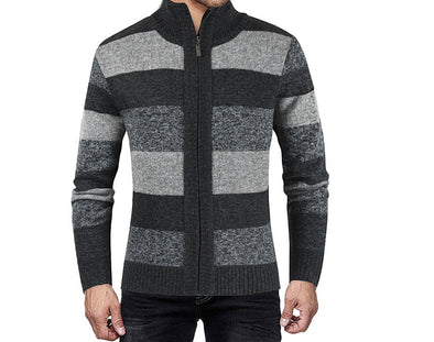 2020 New Men Fashion Patchwork Color Stand-up Zipper Sweater
