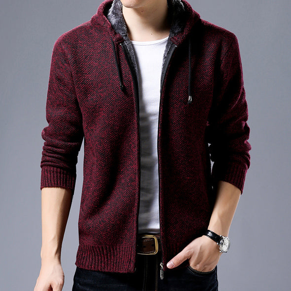 New Men Fashion Casual Zipper Solid Hooded Knitted Sweater