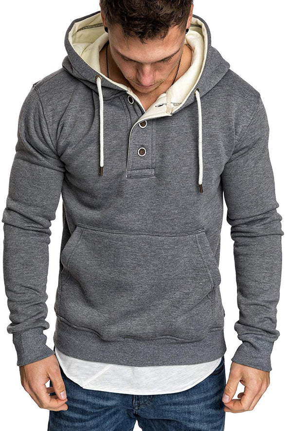 Men's Solid Hoodies Streetwear Fashion Neckline Buttons