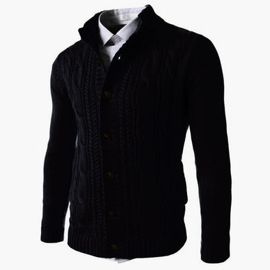 New Men Fashion Slim Stand-up Knitted Cardigan Sweater