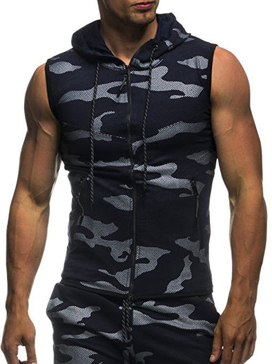 Men's New Arrivals Camouflage Casual Slim Sleeveless Hooded Vest
