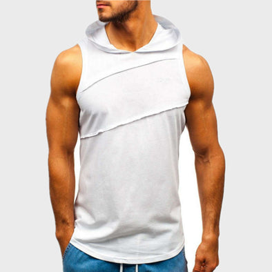 Men's Hooded Embroidered Letter Fitness Vest