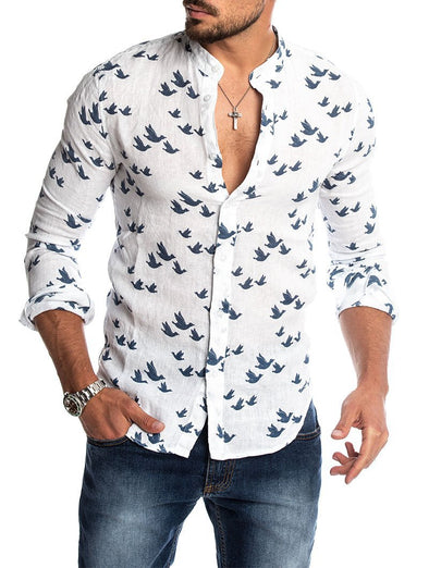 Men's  3D Printed Linen Color Matching Casual T shirt