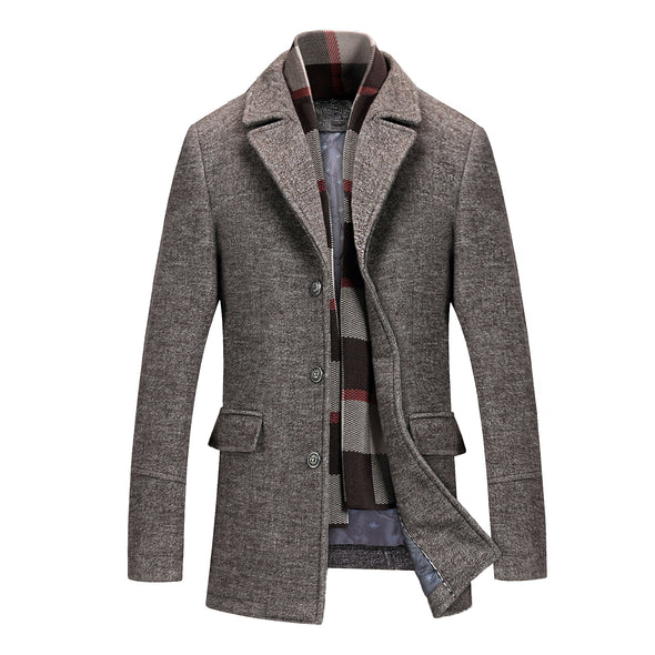 Men's Thick Lapel Scarf Collar Woolen Coat