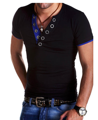 Men's Fashion Personality Solid Colored V Neck T-shirt