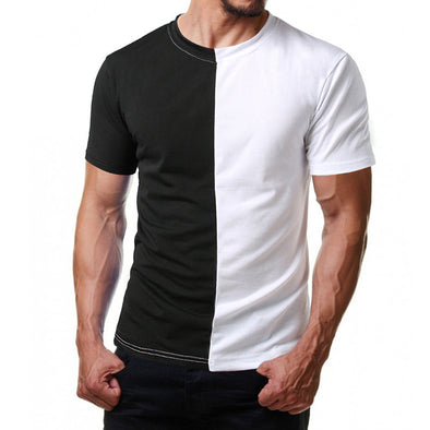 Men's Splice T-shirt Solid color Comfortable Clothing
