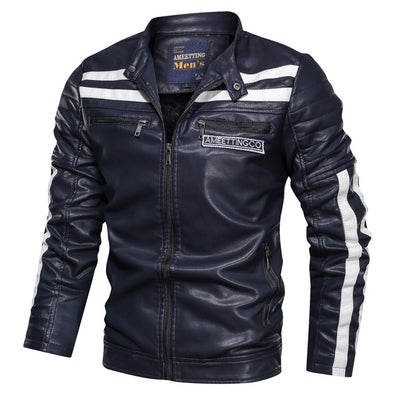 Men's PU Leather Jacket Plus Size Casual Motorcycle Suit Jacket